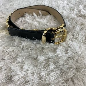 Vtg Casual Corner Black Fashion Belt Gold XXX Sz S